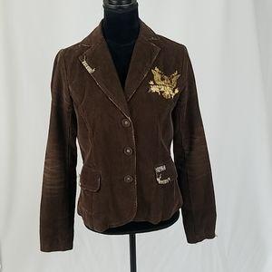 Miss Me women M brown distressed corduroy jacket